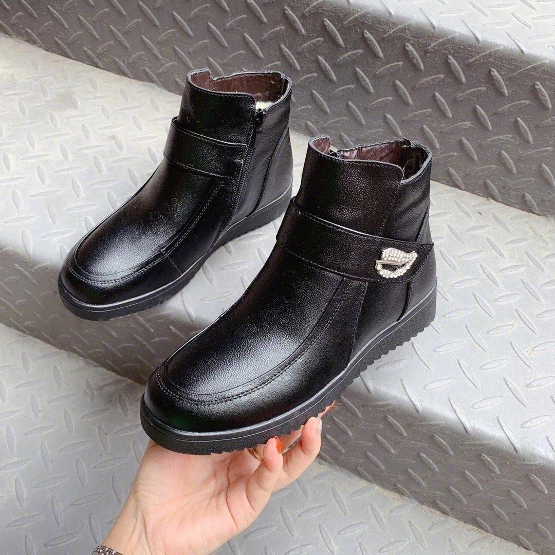 树叶妈妈棉短靴型号MM801头层牛皮+橡胶防滑大底、内里羊羔毛保暖效