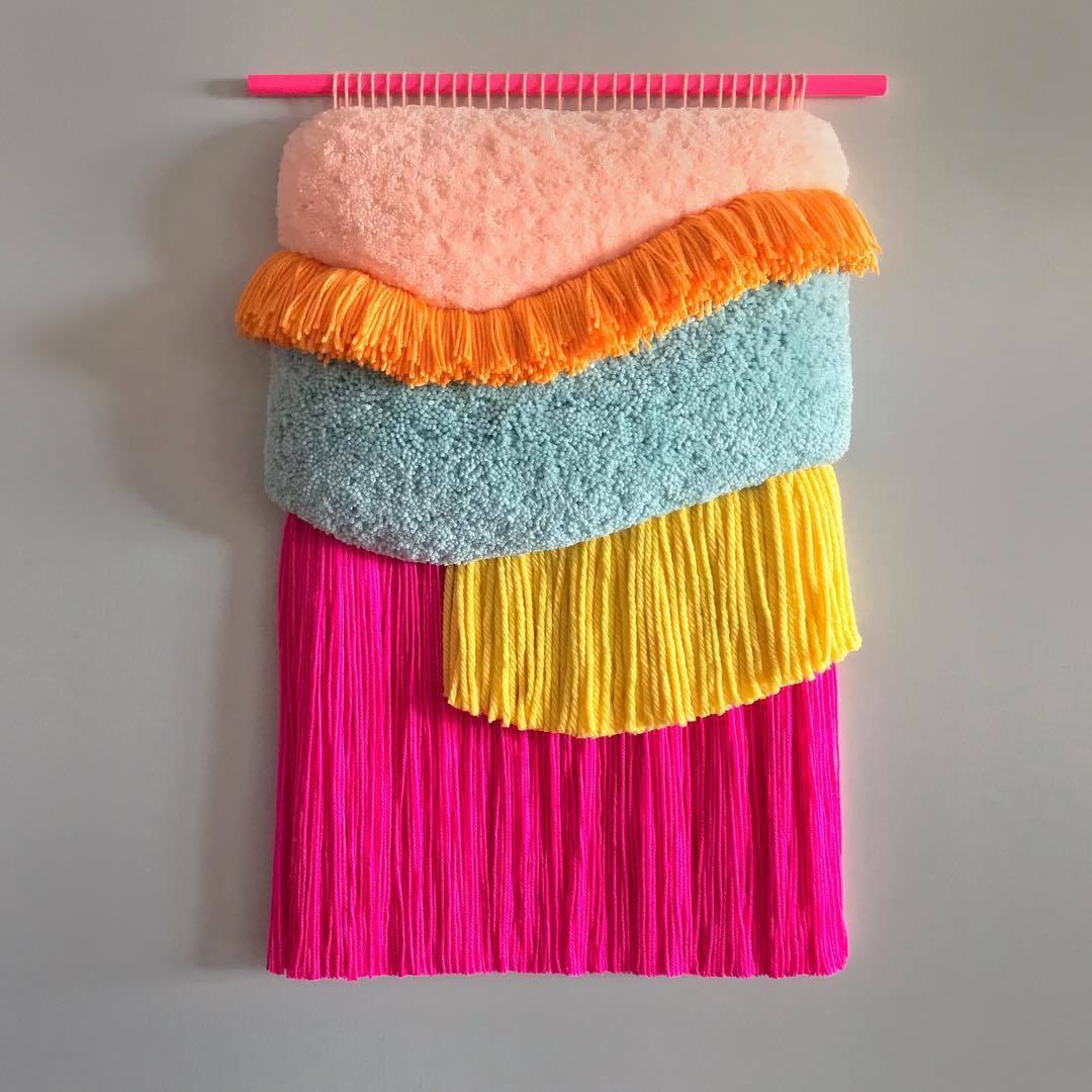 由丝绸、羊毛和棉织成的彩色挂毯西班牙艺术家 Judit Just( jujuju