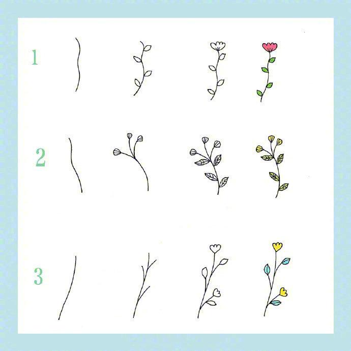 简笔画春天,24种花草植物的画法,点亮你的手账和手抄报。马住学~