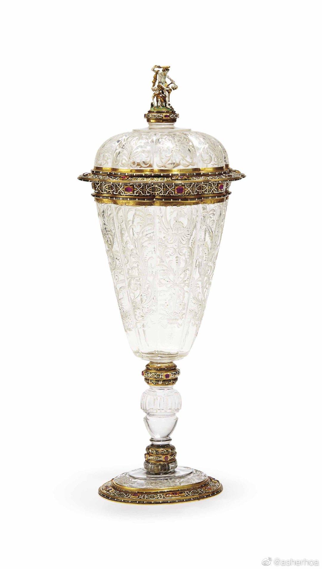 1870年左右REINHOLD VASTERS制作于德国亚琛的镶金水晶杯
