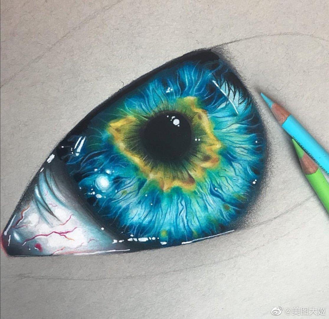 彩铅画手绘作品 超写实眼睛画家:mohamed.draws