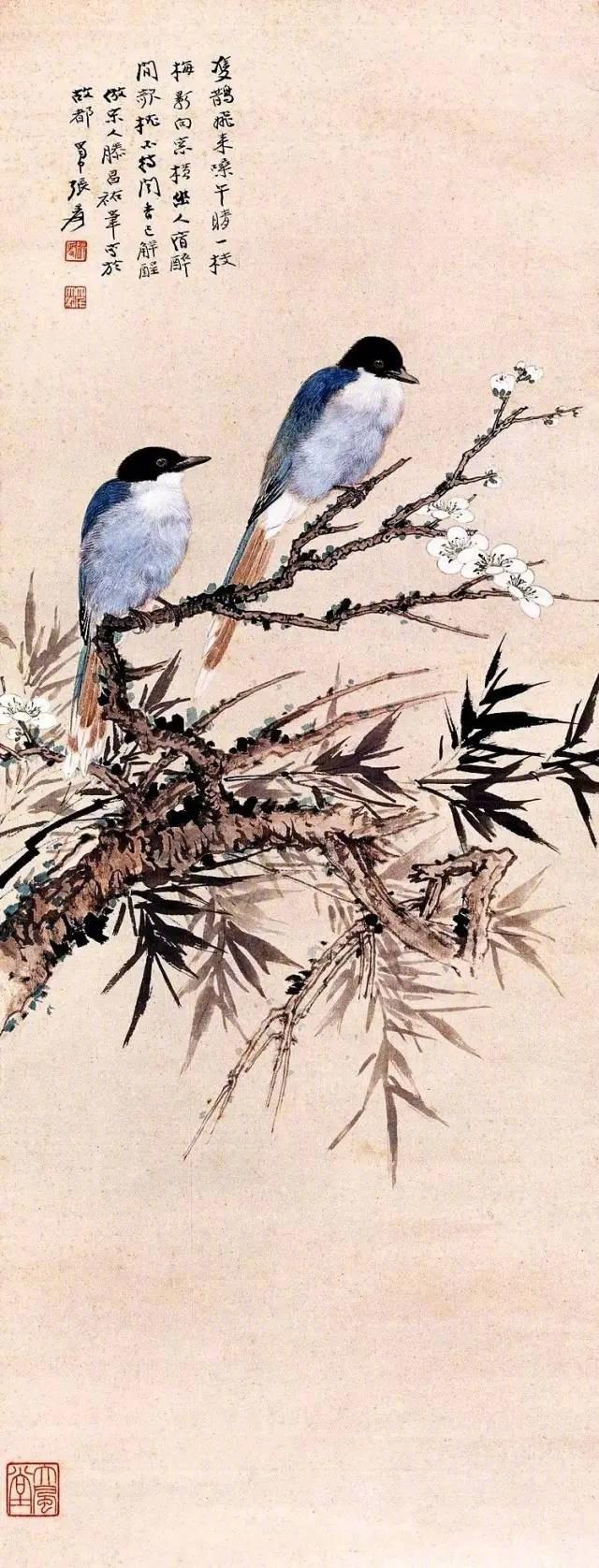 张大千所绘花鸟、走兽,早年主要师法陈淳、徐渭、石涛和八大山人