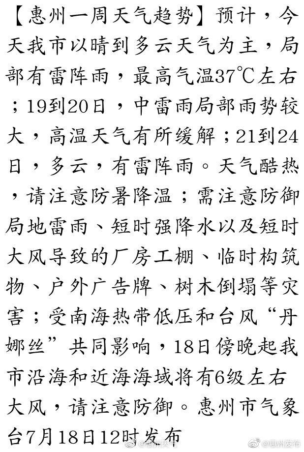 叮咚!您的天气预报员小布上线啦!惠州未来几天有雨