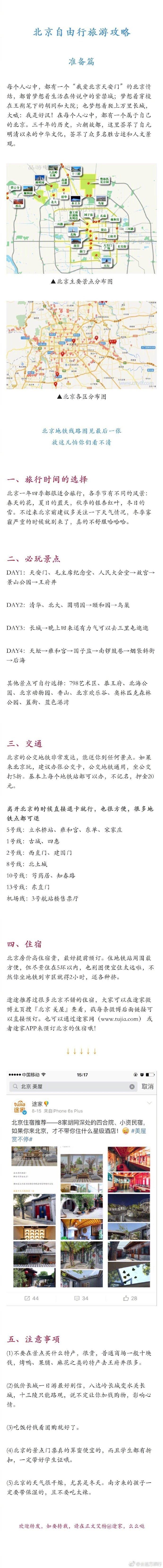 『北京旅行攻略』包括:行前准备,主要景点,必吃美食,热门住宿