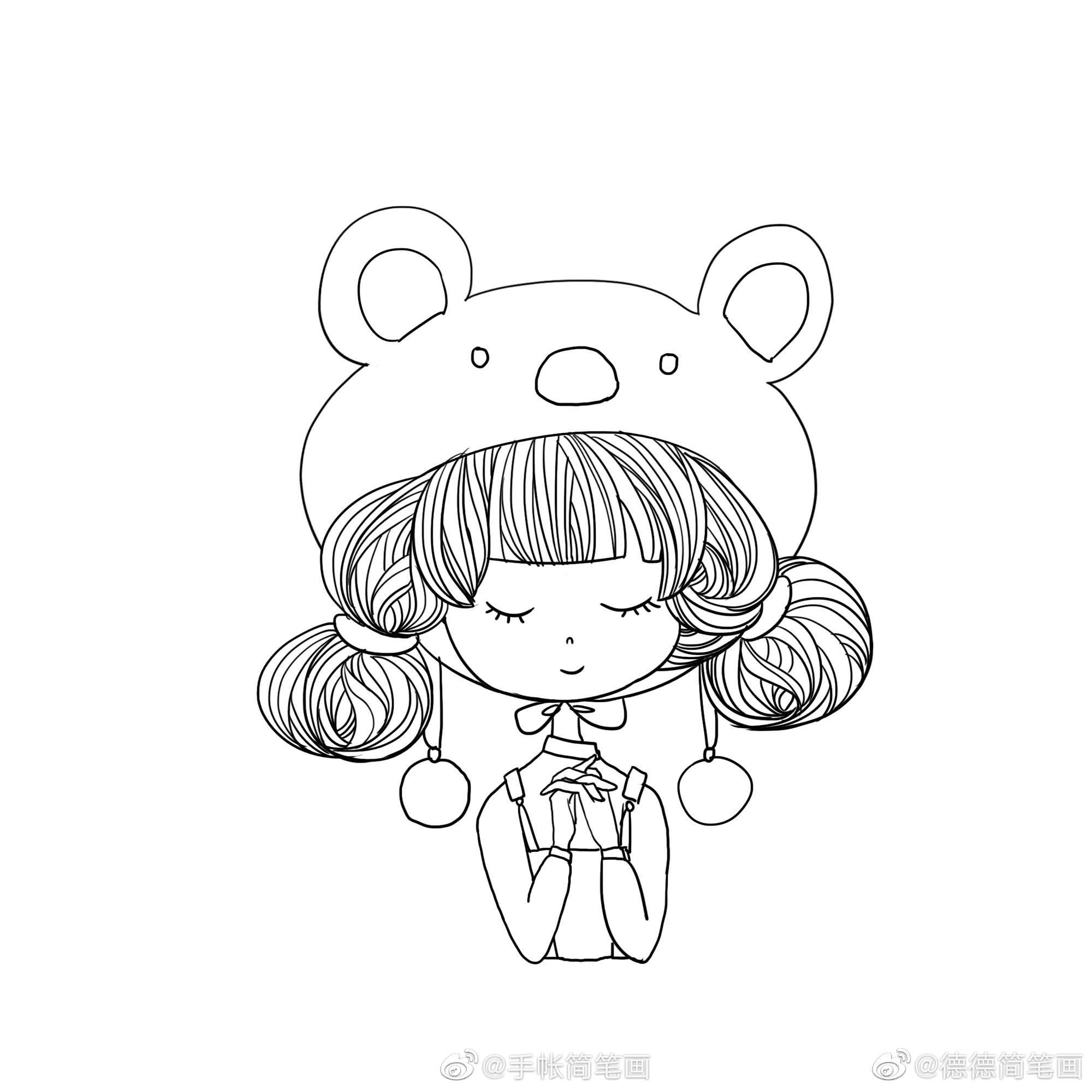 可爱小女孩简笔画教程作者@德德简笔画