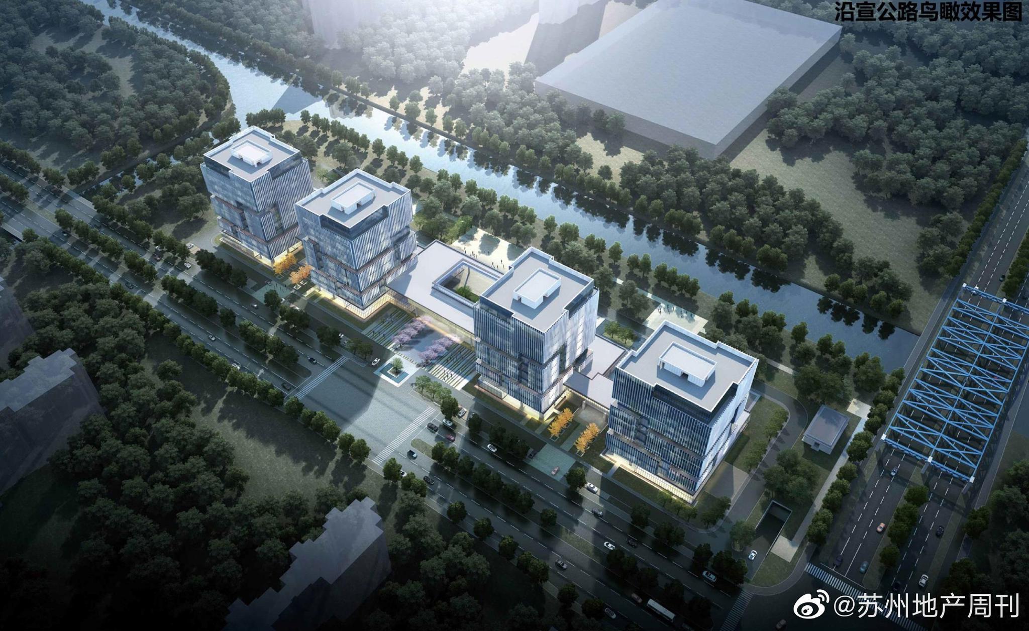 万科北宸东面的新产业楼,这条河是元和塘,河的东西两边区分明显
