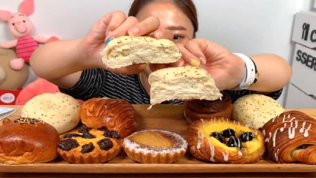 猛犸象面包店的奶油奶酪软包&卡仕达面包&红豆面包&无花果挞&核桃焦糖