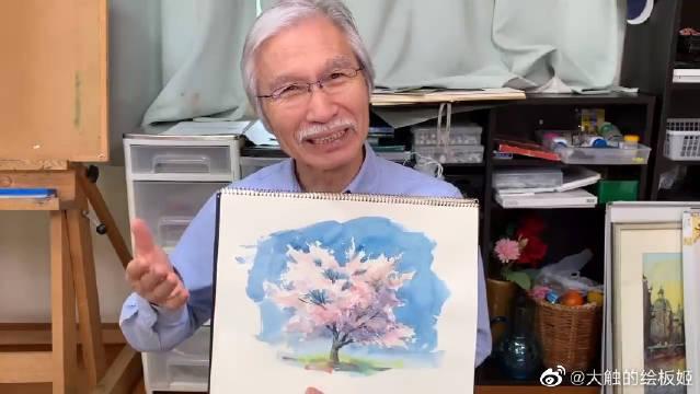 简单水彩绘画,樱花树的绘制教程!不得不说