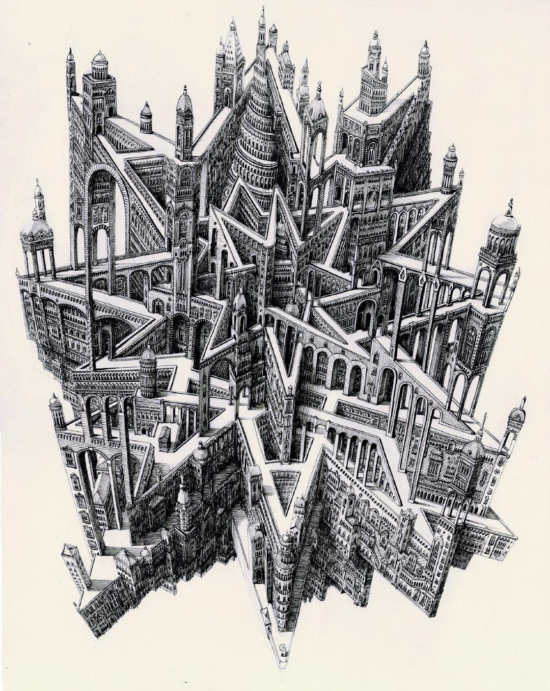 建筑绘图 插画 手绘Benjamin Sack作品。