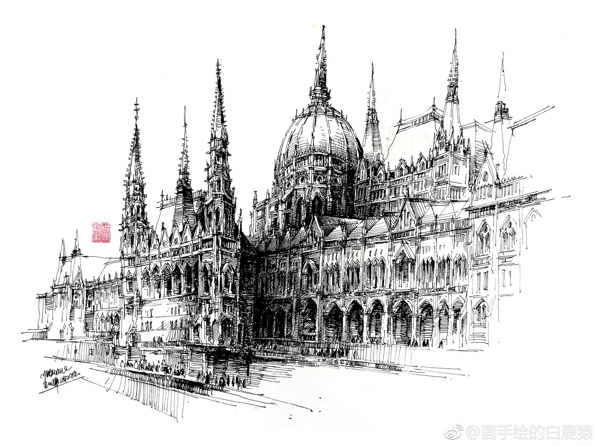 超好看的欧式建筑钢笔画