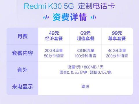 小米推Redmi K30专属手机卡,49元包20GB流量,其它手机也能用