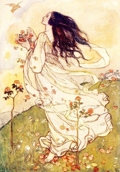 画家 Florence Harrison 为著名诗人丁尼生、罗塞蒂的诗集都绘制过插
