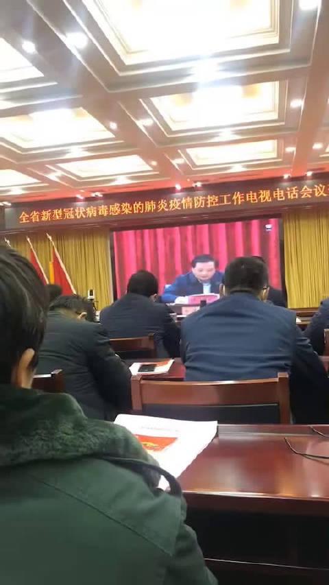 河南省新型冠状病毒感染的肺炎疫情防控工作电视电话会议。