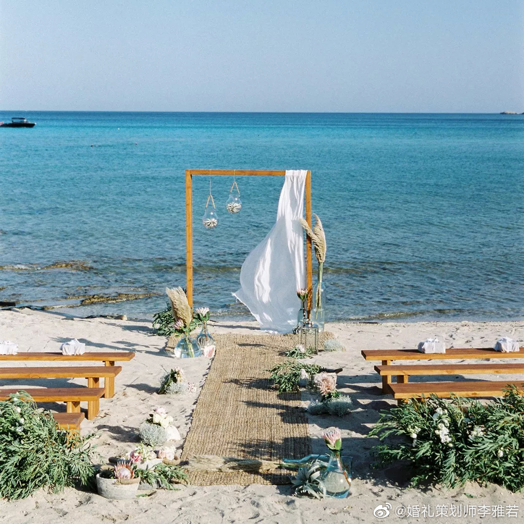 帝王花,常春藤,芦苇,空气凤梨,橄榄叶,海边,一场惬意的婚礼