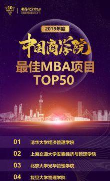 2019年度中国商学院最佳MBA项目TOP50排行榜发布!