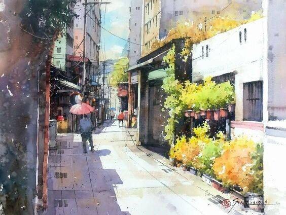 城市水彩画作 (作者: 画家郭金升)图片