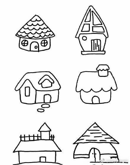又一波小房子简笔画来啦,一起陪孩子画起来吧图片