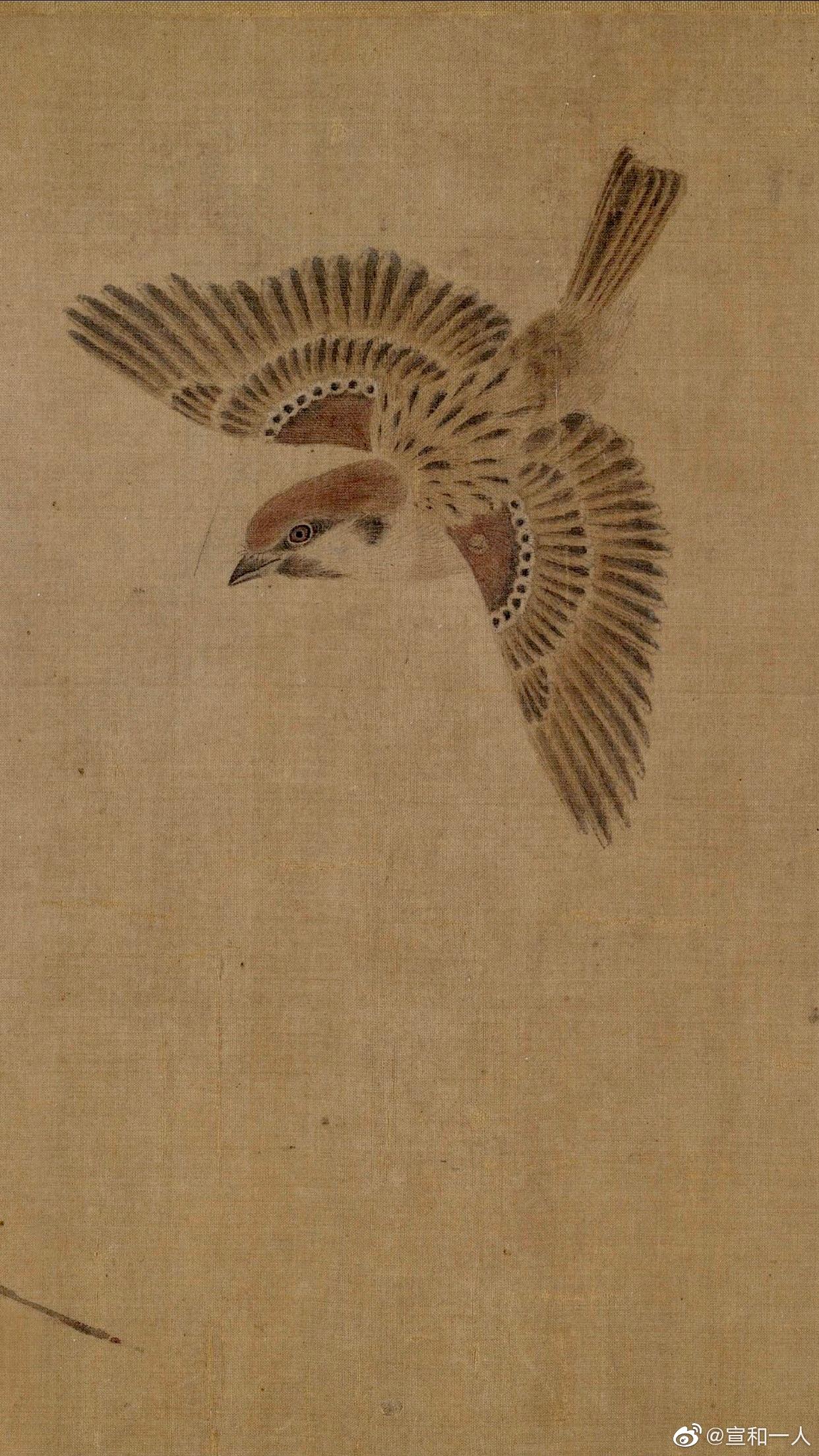 宋神宗年代的画院待诏崔白有《九雀图》存世于故宫博物院  弘历于《