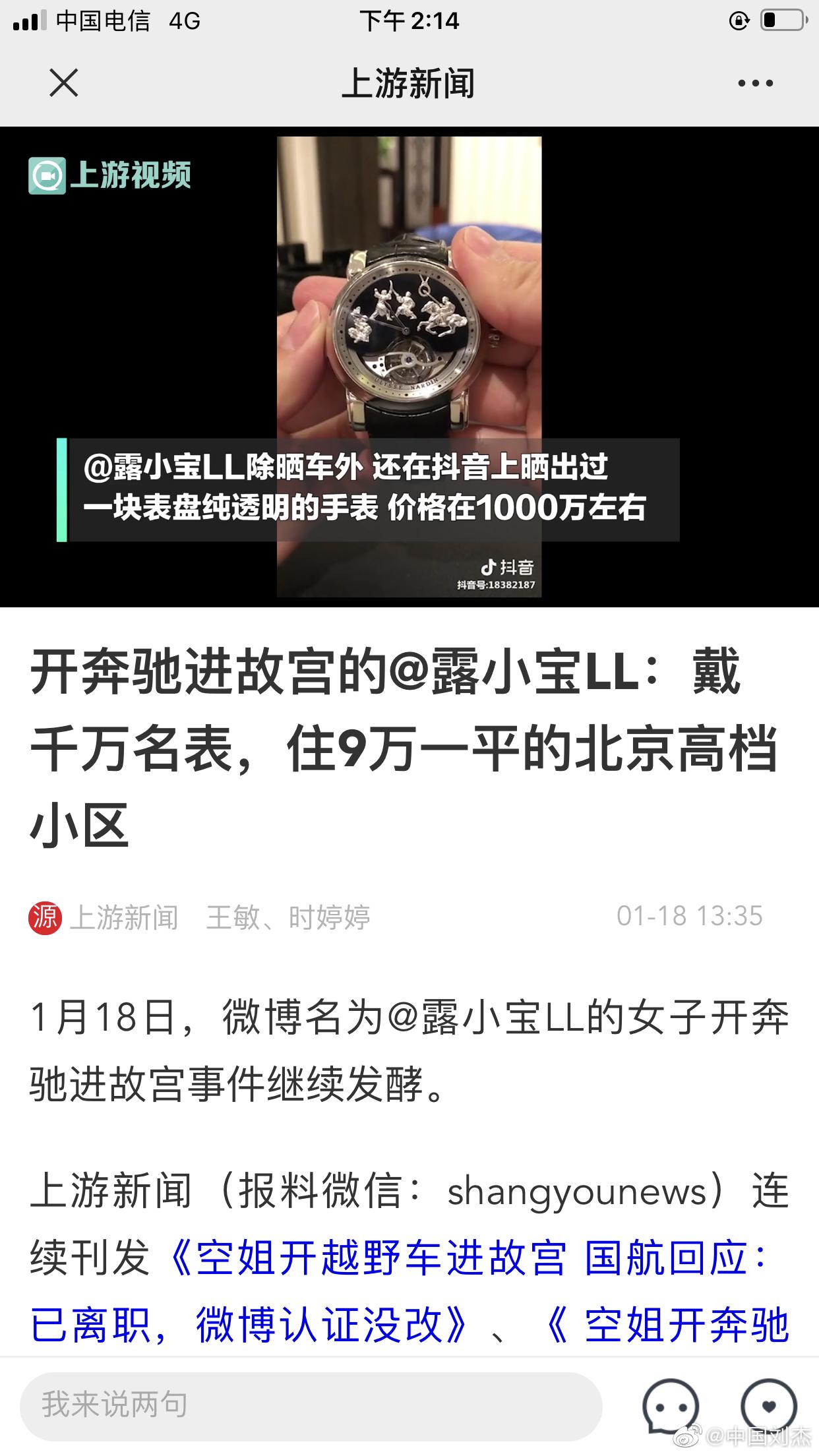 上游新闻:开奔驰进故宫的@露小宝LL,戴千万名表