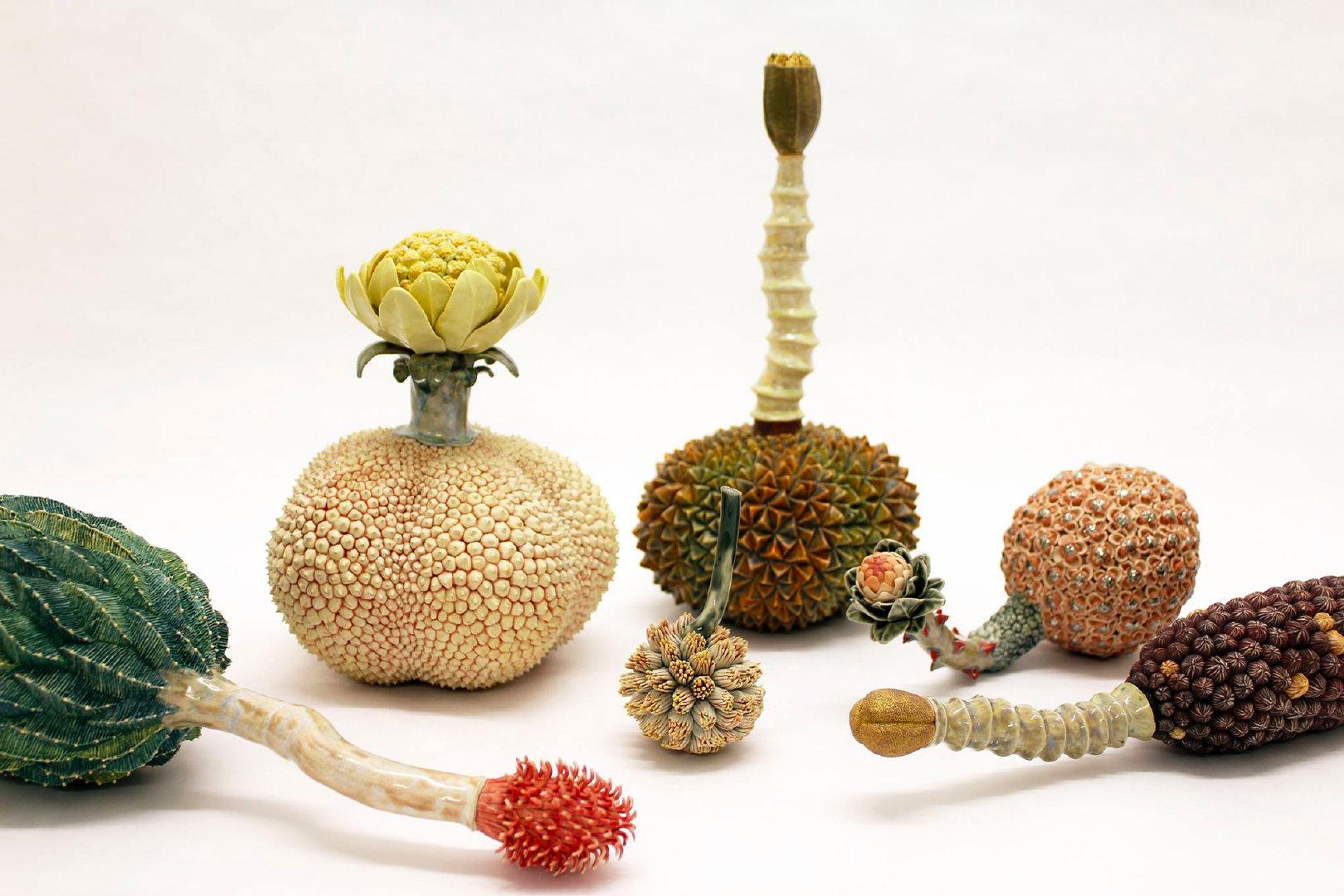 陶瓷艺术家Kaori Kurihara的陶瓷纹理参考了熟悉的植物,如榴莲