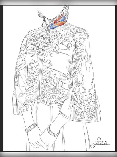 中式礼服秀和服刺绣牡丹 海浪纹 完整手绘版锦绣中华新年快乐