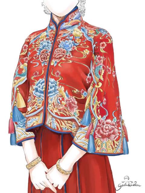 哇哦 感觉还是很震撼的中式礼服秀和服 刺绣牡丹 鱼水纹精致手