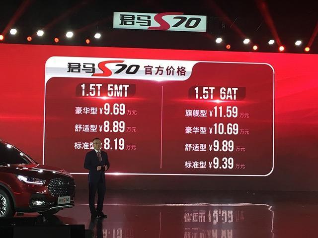 君马S70正式上市 售价为8.19-11.59万
