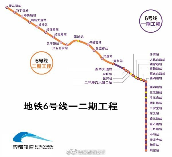 成都地铁6号线线北起太清路站,南至郑家林站,贯穿主城南北主轴
