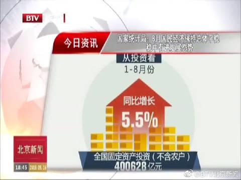 国家统计局:2019年8月国民经济保持总体平稳 稳中有进发展态势