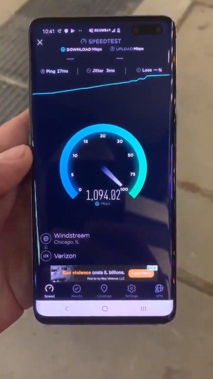 George L. Koroneos用Verizon 5G和Galaxy S10 5G跑speedtest测试