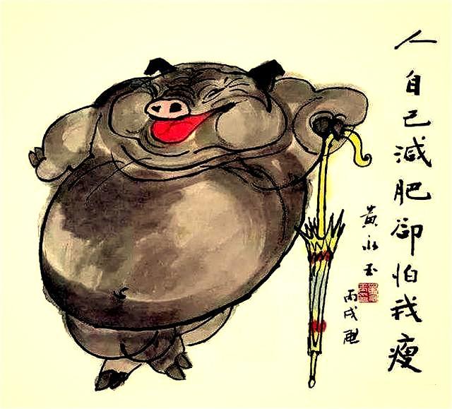 其中让人印象最深的,要数12年前,为迎接猪年,他一口气画了6幅画猪的图片