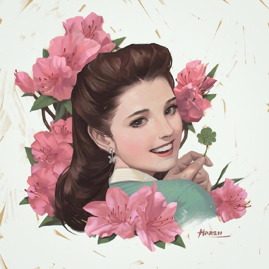 插画家 Kim Hanseul 的复古女子肖像