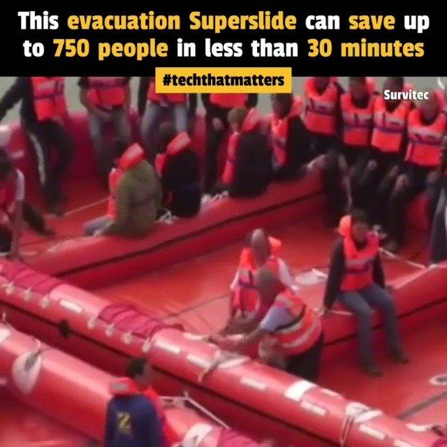 这个船舶疏散系统可以在30分钟内营救多达750人
