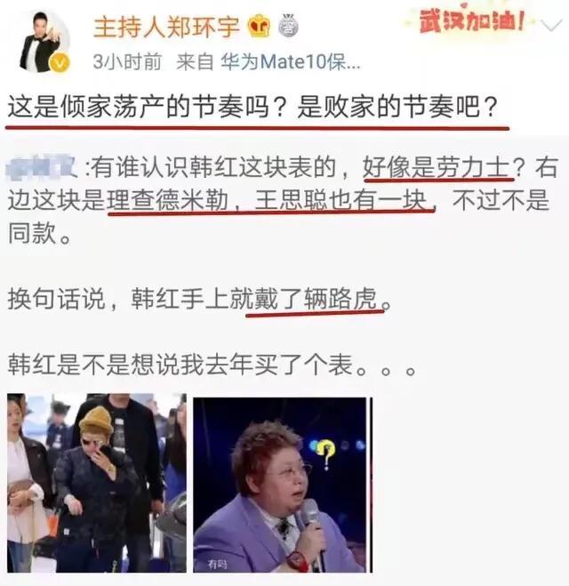 著名主持人发文讽刺韩红:手上戴着400万的手表,嘴上喊着捐破产