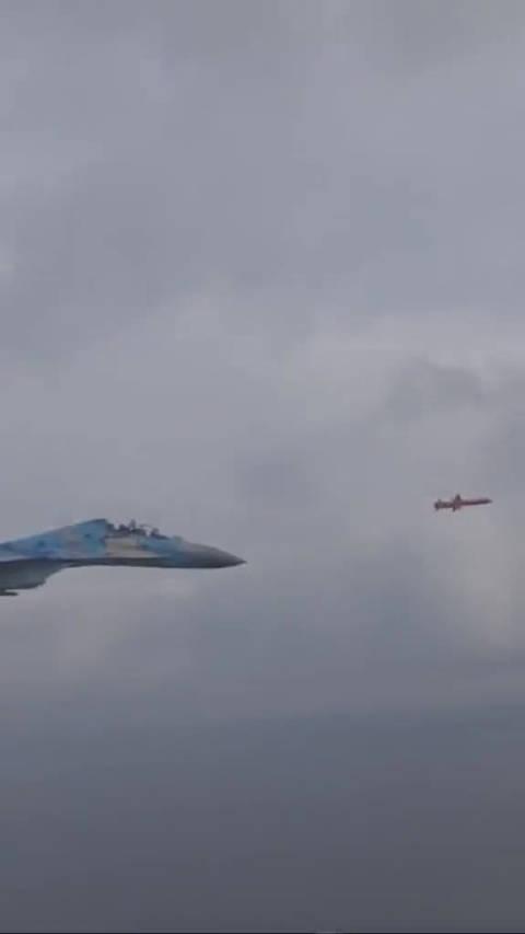 """乌克兰一架苏-27紧追一枚""""海王星""""反舰导弹罕见同框画面"""