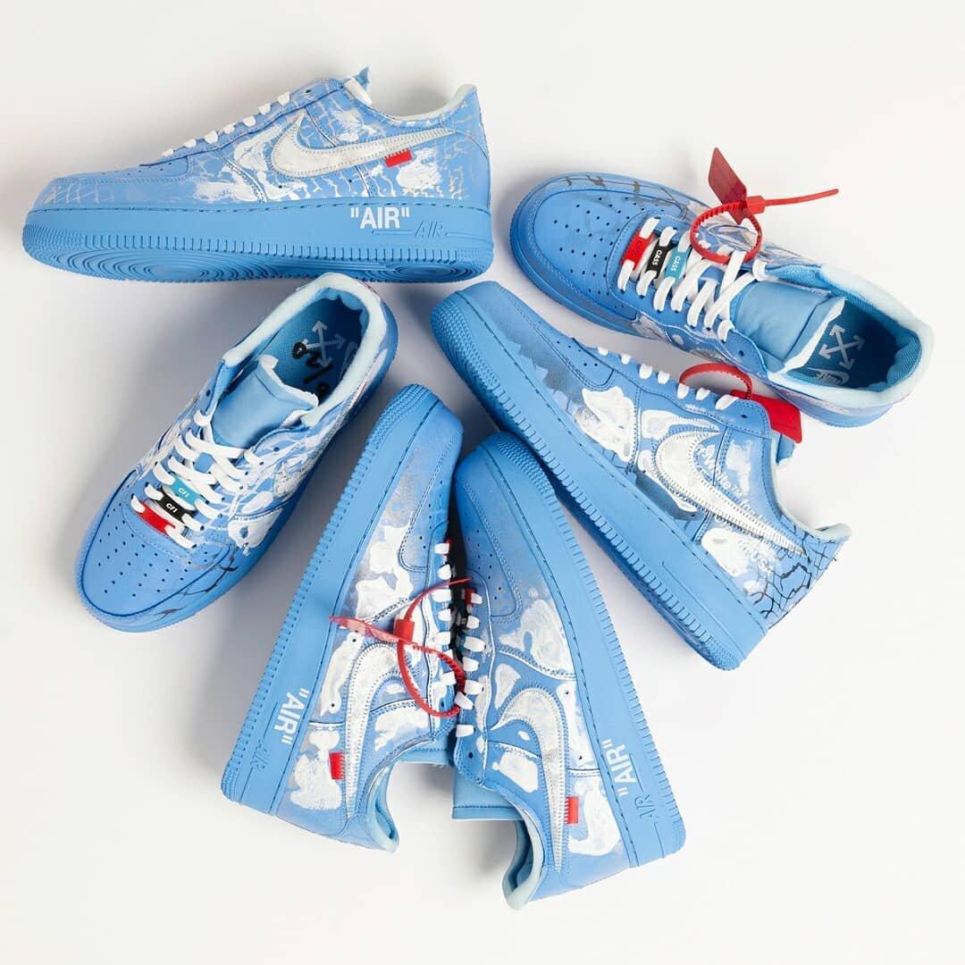 """Virgil Abloh x MCA x Cassius Hirst x Nike Air Force 1""""蓝白骷髅"""