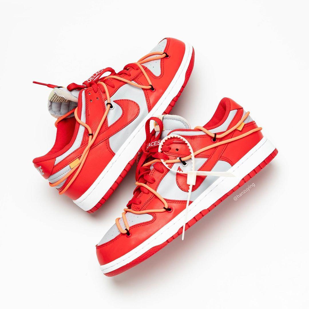 Off-White x Nike SB Dunk Low 灰红配色先前曝光的Off-White x
