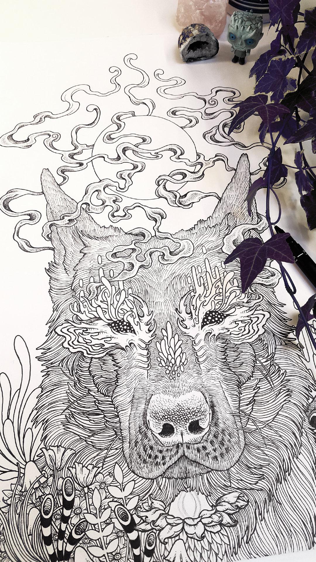 black eyed dog插畫 手繪 數碼藝術