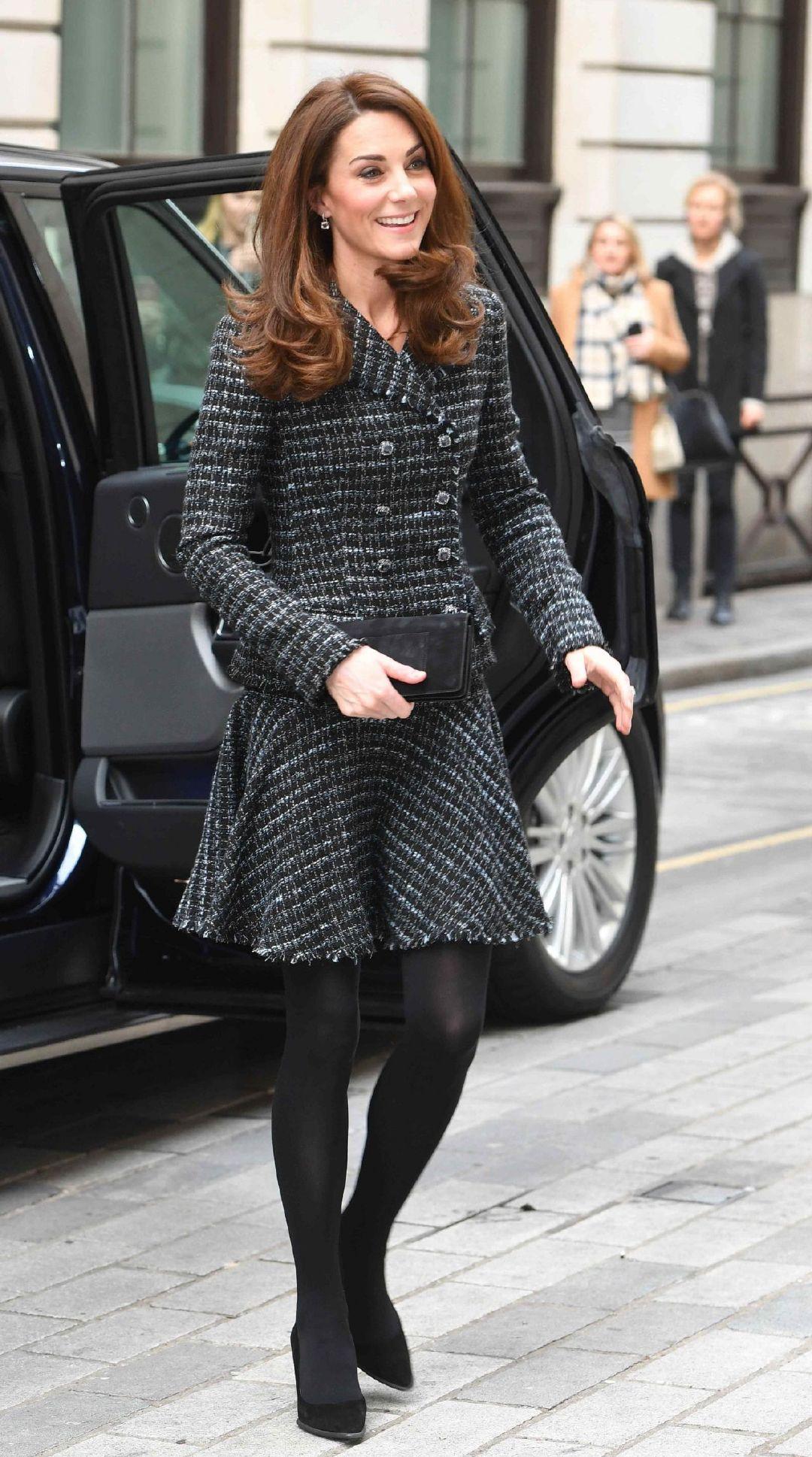 2019年2月13日凯特·米德尔顿(Kate Middleton)前往参加在伦敦默瑟大