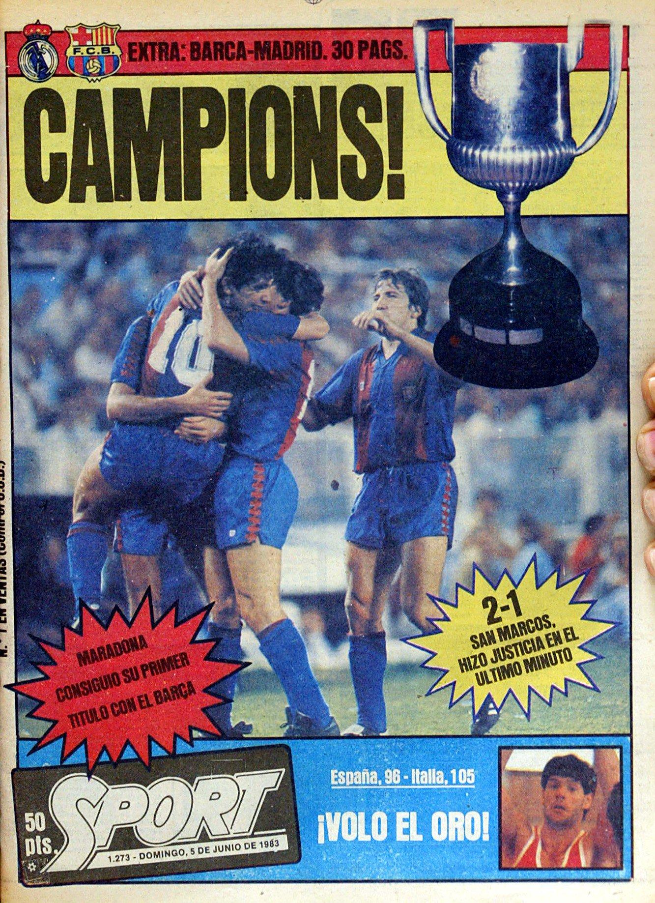 《每日体育报》庆祝成立40周年,分享了一些经典头版