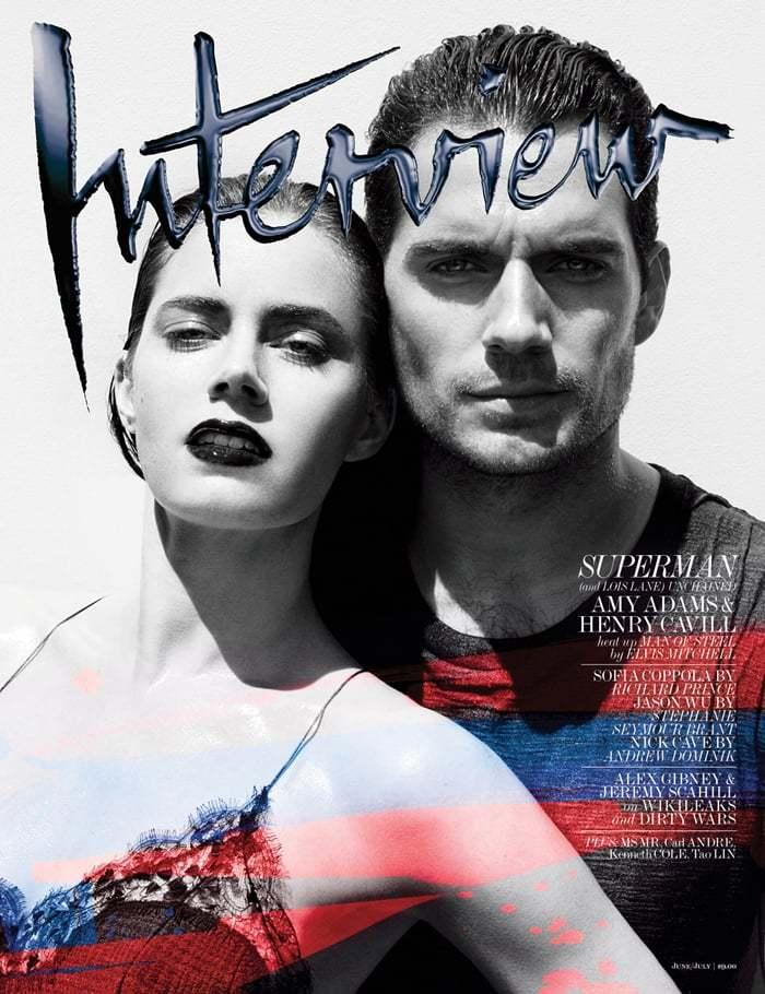 Interview杂志《超人:钢铁之躯》写真,亨利·卡维尔与艾米·亚当斯