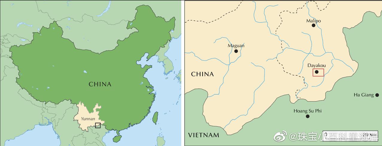 云南麻栗坡祖母绿于20世纪80年代在猛硐瑶族乡大丫口矿区被发现