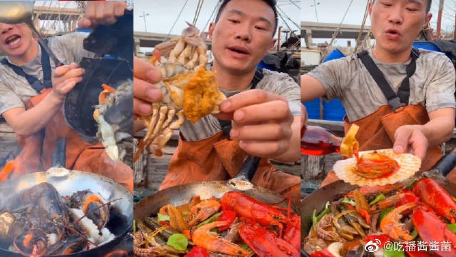 渔夫在海边捕到海鲜,就用简单的材料,在海边做出美味的海鲜大餐