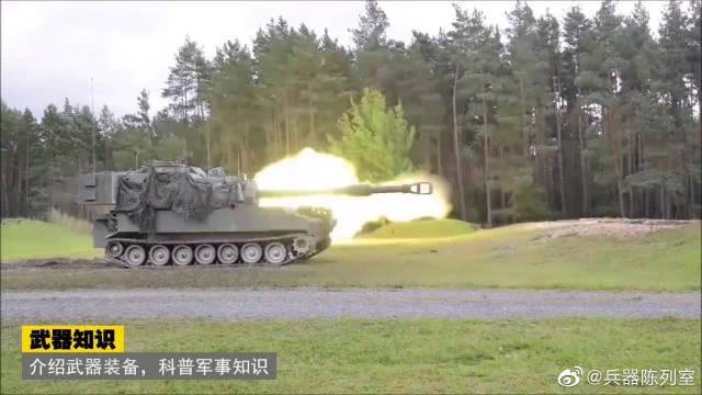 威力巨大的M109帕拉丁自行火炮射击瞬间