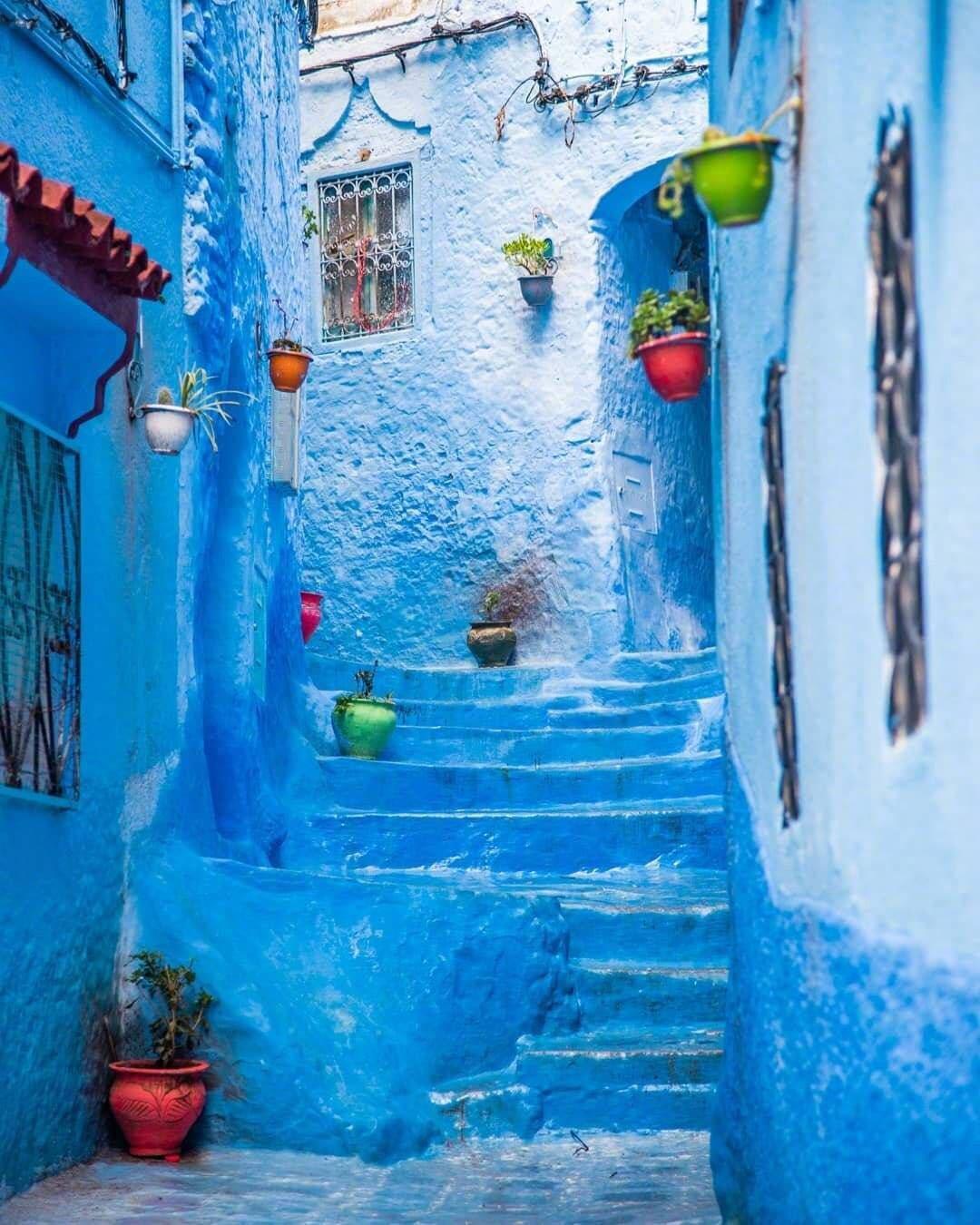迷人的摩洛哥蓝色小镇 舍夫沙万ins:rrrudya