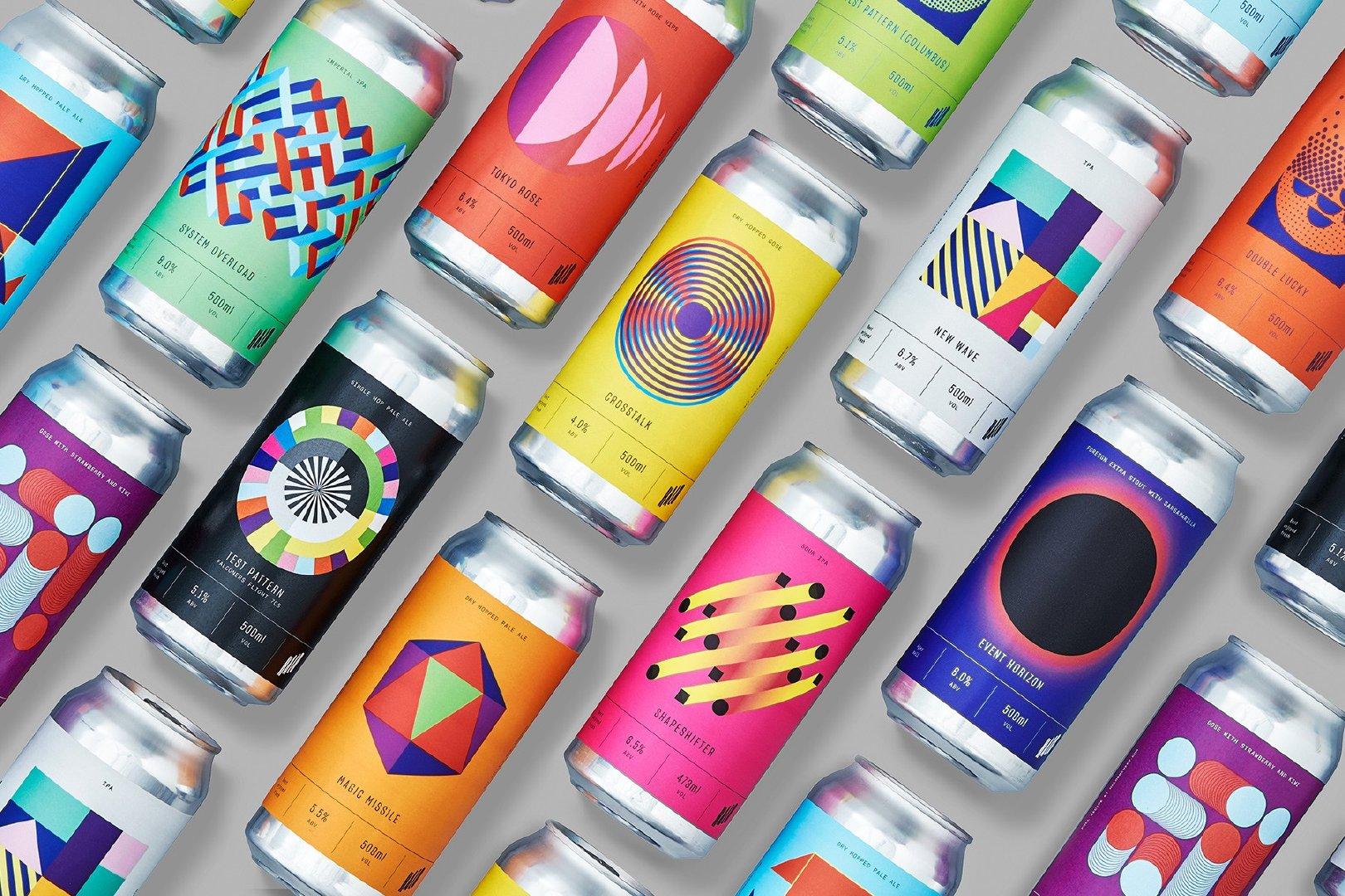 活力现代和叛逆感的几何图案 HALO啤酒包装设计