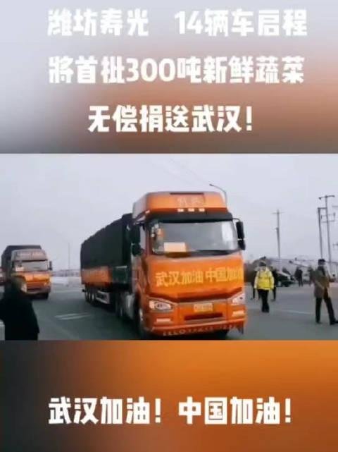 潍坊寿光,14辆车启程!将首批300吨新鲜蔬菜无偿捐送武汉