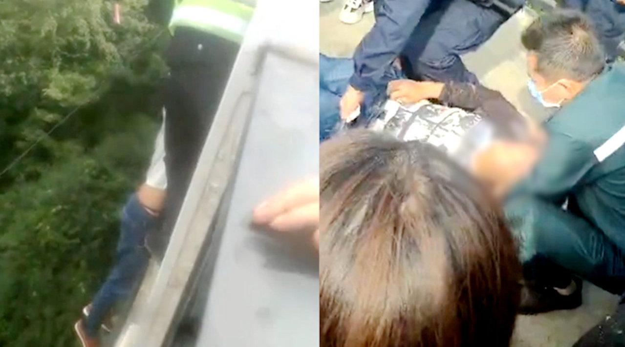 轻生男子身体悬空30米高桥外,协警不顾危险翻出栏杆挽回一命