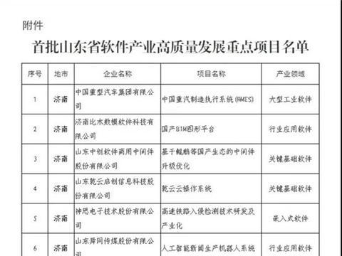 济宁5家企业上榜山东省软件产业项目名单