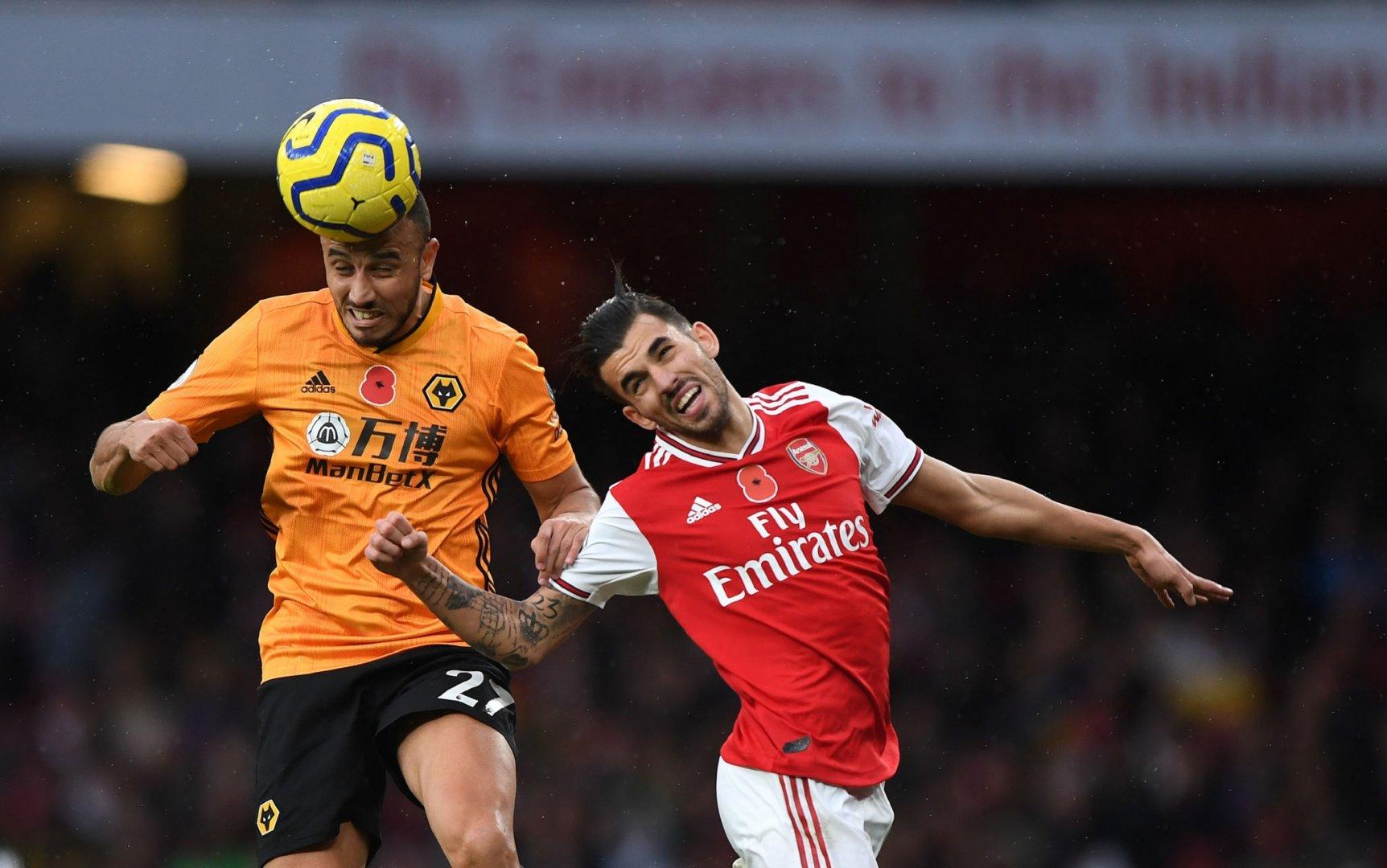 2019-2020赛季英超联赛第11轮:阿森纳1-1狼队,塞瓦略斯首发出场